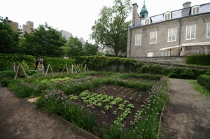Divisé en trois sections distinctes, le potager, le jardin ornemental et le verger, ce jardin est bordé de plantes médicinales et aromatiques