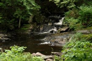 Une cascade et une rivière qui traversent un domaine féérique est un cadeau du ciel