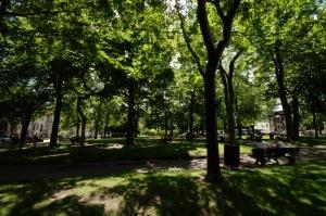 Ancien réservoir d'eau aménagé, le carré Saint-Louis, nommé d'abord Saint-Jean-Baptiste lors de son inauguration en 1851, devient, en 1880, un parc public